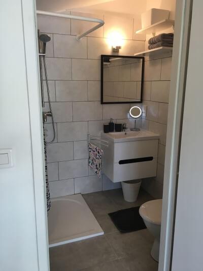 salle d'eau avec grande douche wc serviettes etc